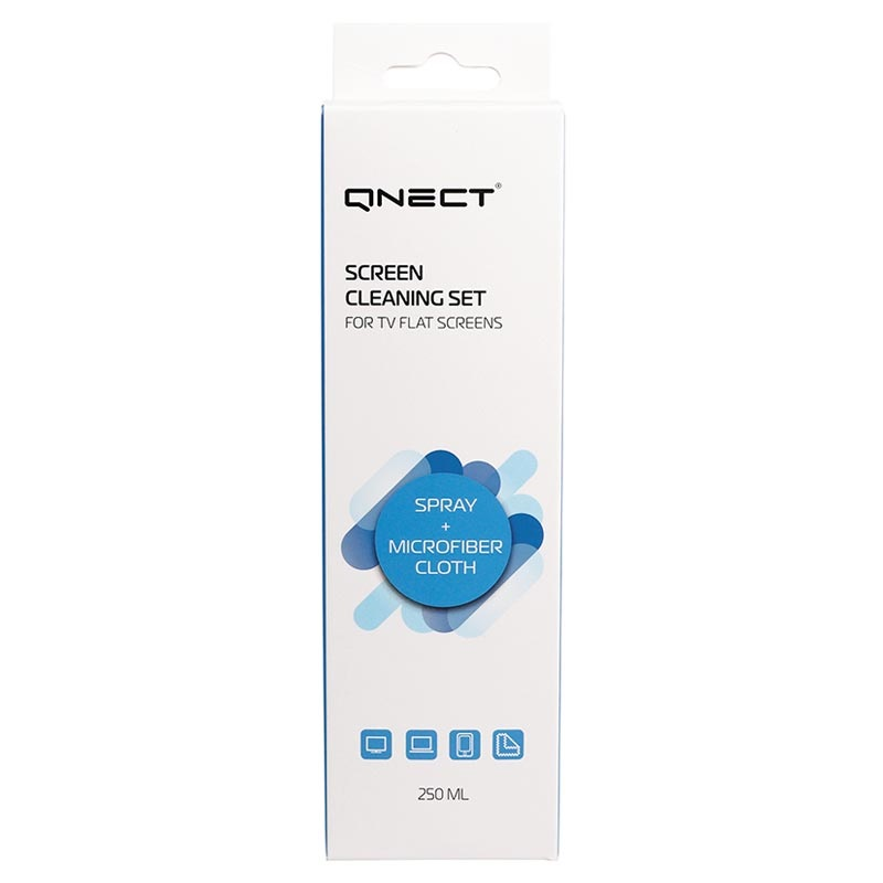 Qnect Screen Cleaning Set - Spray & Microfiber Cloth
