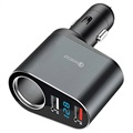 Quick Charge 3.0 Car Charger with LED Display - 2xUSB, 30W - Grey