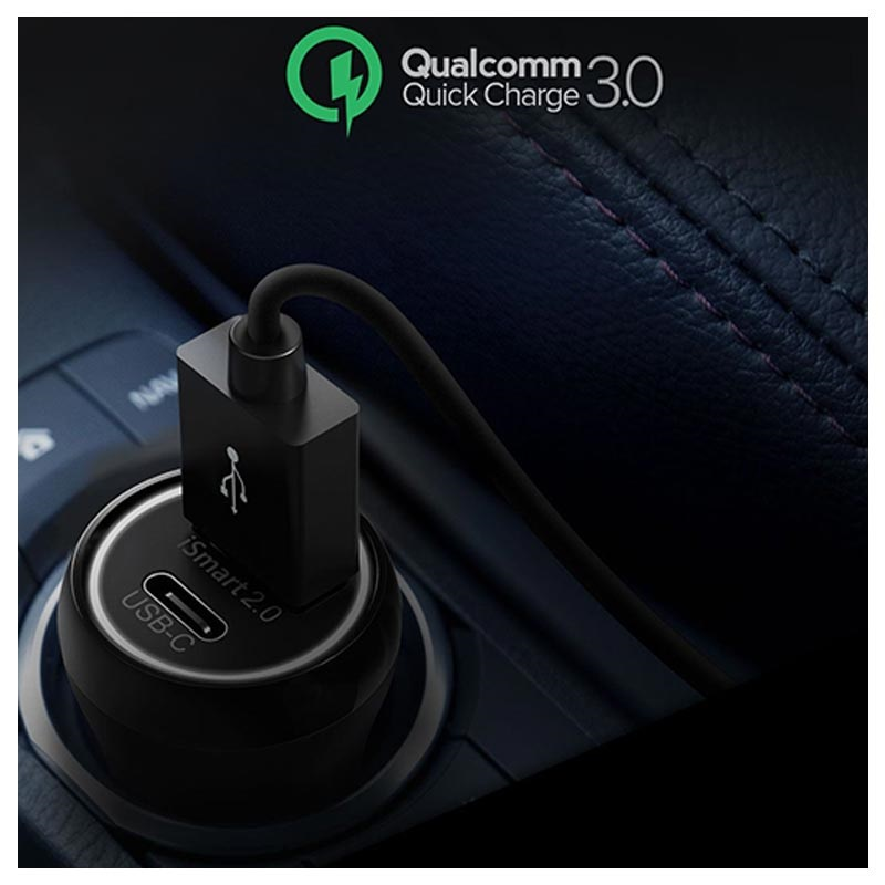 RAVPower RP-PC091 Fast Car Charger - USB-C & USB-A - 36W