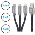 Recci Jeans 3-in-1 USB Cable - Lightning, Type-C, MicroUSB - 1.2m