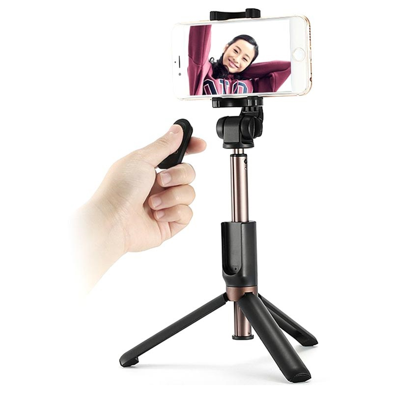 Remax P9 2-in-1 Selfie Stick / Tripod Stand with Remote Control - Black