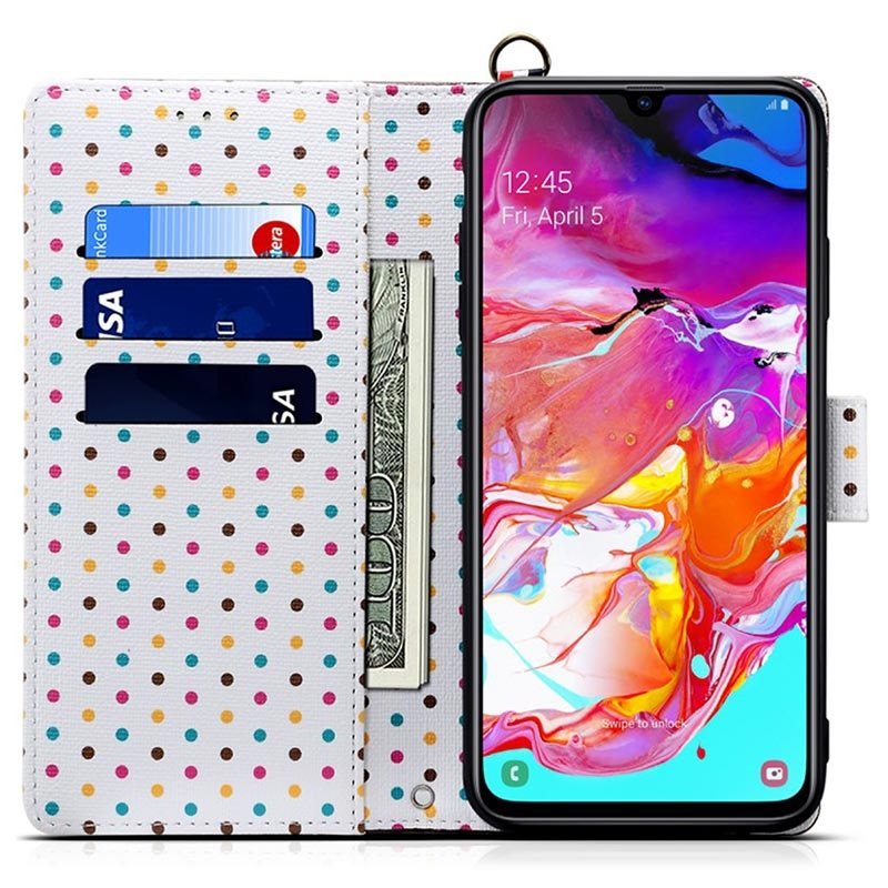 Retro Polka Dot Samsung Galaxy A70 Wallet Case