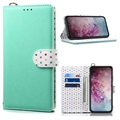 Retro Polka Dot Samsung Galaxy Note10+ Wallet Case - Cyan