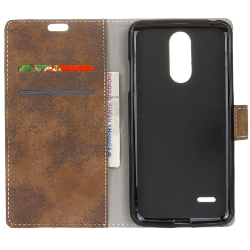 Lg K8 2017 Retro Wallet Case Brown