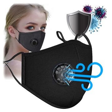 Reusable PM2.5 Face Mask with Activated Carbon Filter - Black
