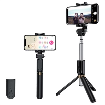 Rock Selfie Stick Tripod Stand with Bluetooth Remote Control - Black