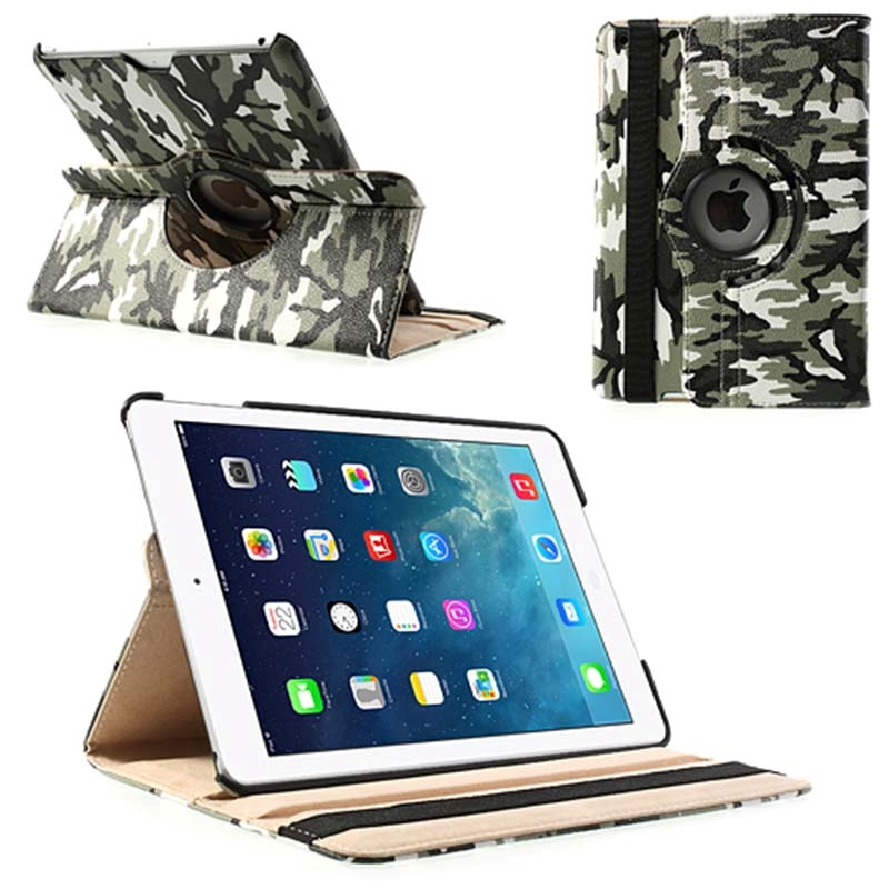 iPad Air Rotary Smart Leather Case - Green / White / Black