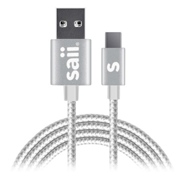 Saii Charge&Sync USB-C Cable - 1.2m, USB 3.1 - Silver