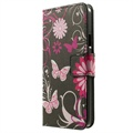 Samsung Galaxy A3 (2015) Stylish Wallet Leather Case - Butterflies / Flowers