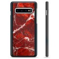Samsung Galaxy S10+ Protective Cover - Red Marble