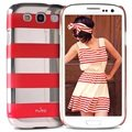 Samsung Galaxy S3 I9300 Puro Stripe Case - Silver / Red