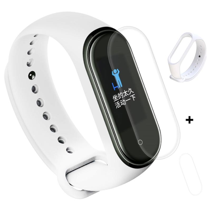 Xiaomi Mi Band 4 Silicone Wristband & TPU Screen Protector - White