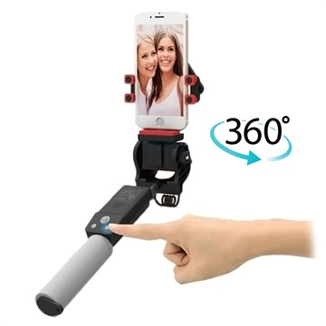 Smart Wireless Selfie Stick with 360-Degree Rotation - Black