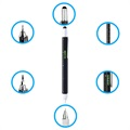 Super 6 in 1 Multifunctional Tool Stylus Pen with Ruler - Black