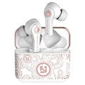TS-100 Graffiti TWS Earphones with Bluetooth 5.0 - White / Rose Gold