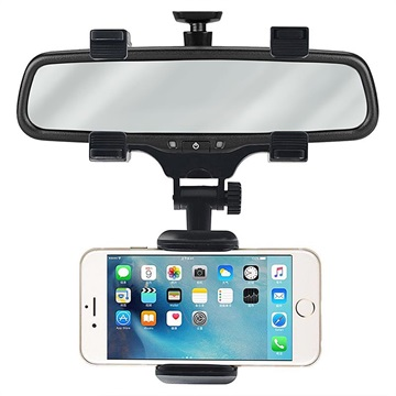 Universal 360 Rotary Rear View Mirror Car Holder - Black