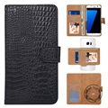 "Universal 360-degree Rotary Wallet Case - 5.3"" - Crocodile Black"