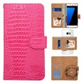"Universal 360-degree Rotary Wallet Case - 5.3"" - Crocodile Pink"