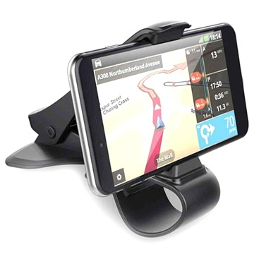 Universal Dash Mount Car Holder with Clamp - Black