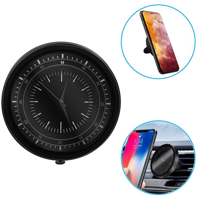 Universal Magnetic Air Vent Car Holder with Clock - Black