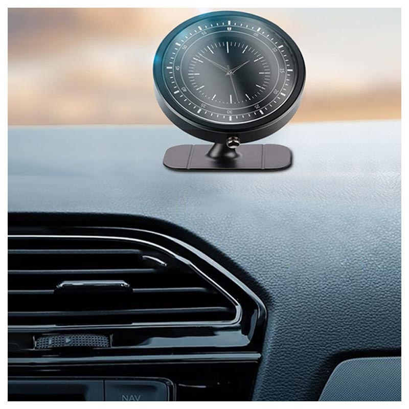 Universal Magnetic Car Holder with Clock - Dashboard Mount - Black
