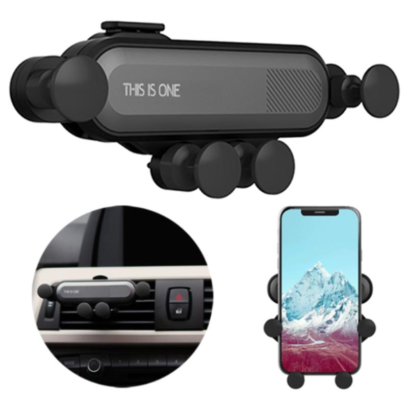 Universal Gravity Air Vent Car Holder for Smartphone - Black