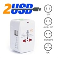 Universal World Travel Adapter with Dual USB - 6A - White