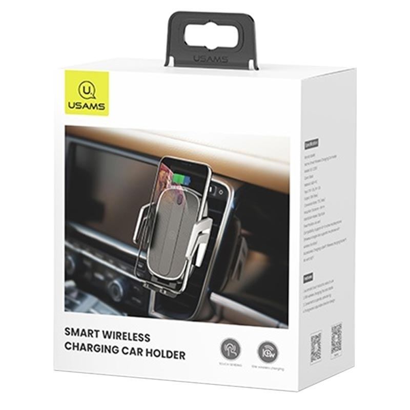 Usams CD100 Air Vent Car Holder with Qi Wireless Charging - 10W