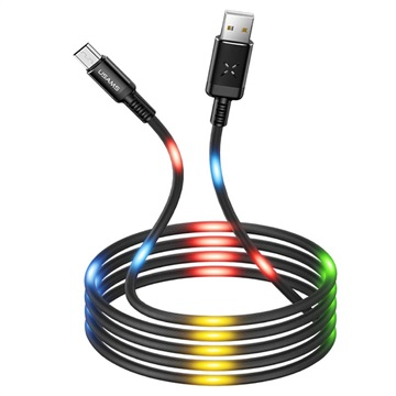 Usams US-SJ288 Dancing LED USB 2.0 / MicroUSB Cable - 1m - Black