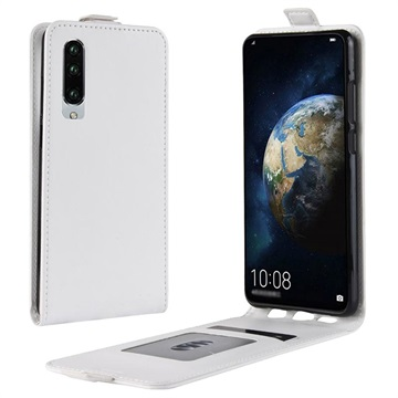 Huawei P30 Vertical Flip Case with Card Slot - White