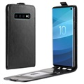 Samsung Galaxy S10 Vertical Flip Case with Card Slot - Black