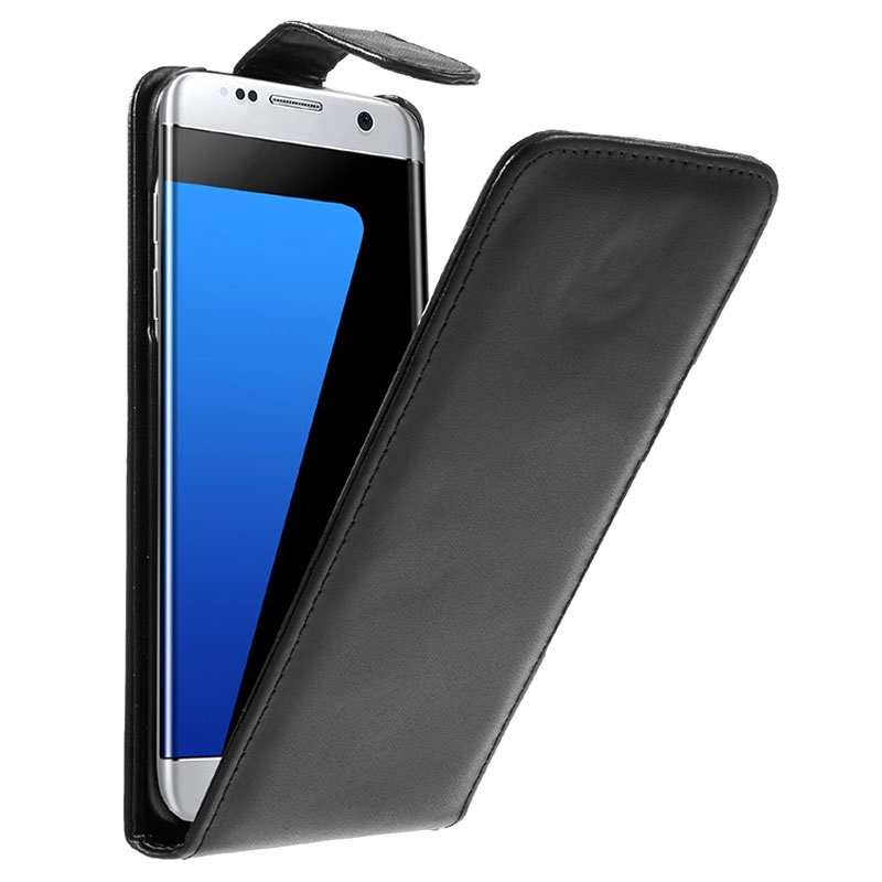 Samsung Galaxy S7 Edge Vertical Flip Case Black