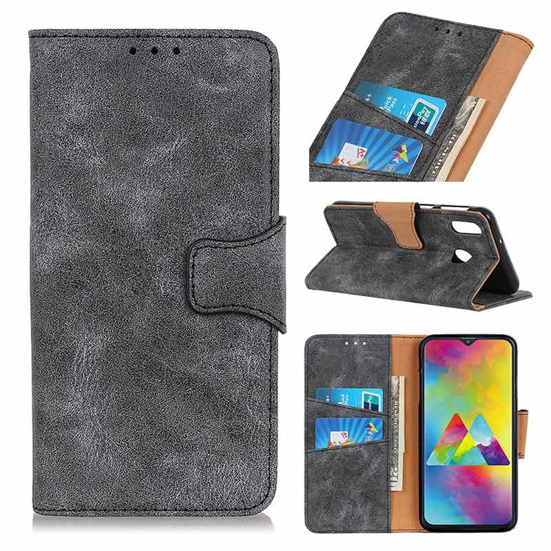 Vintage Series Samsung Galaxy M20 Wallet Case - Grey
