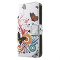iPhone 5 / 5S / SE Wallet Case - Butterflies / Circles