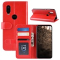 Motorola One Vision Wallet Case with Stand Feature - Red