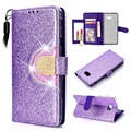 Samsung Galaxy J4+ Glitter Wallet Case - Purple