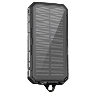 Water Resistant Solar Charger / Power Bank - 20000mAh - Black