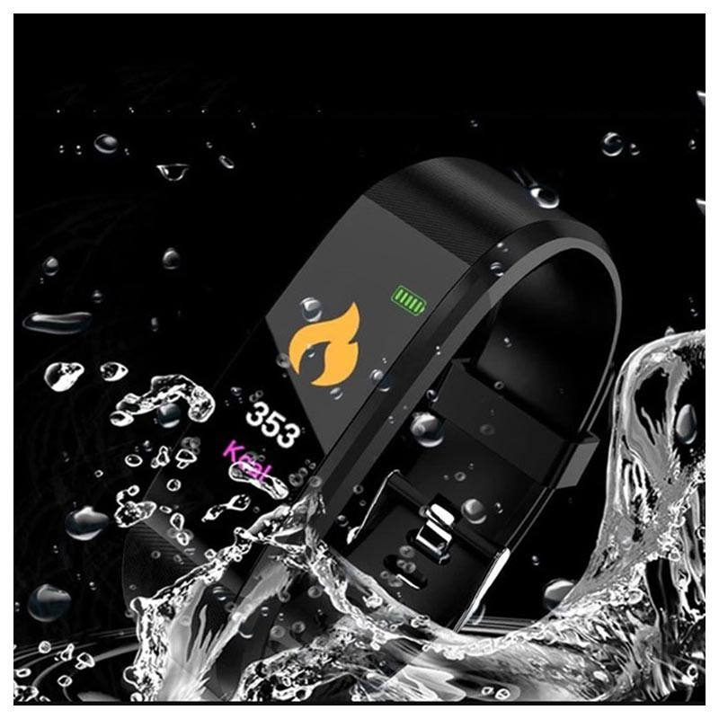Waterproof Activity Tracker with Heart Rate ID115 Plus - Black