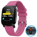 Waterproof Bluetooth Smartwatch w/ IR Thermometer CV06 - Hot Pink