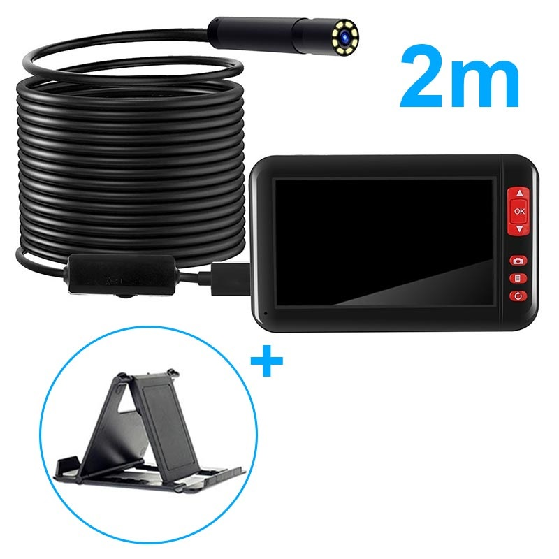 Waterproof HD Endoscope Camera with LCD Display & Holder
