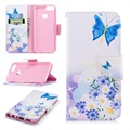 Huawei P Smart Wonder Series Wallet Case - Blue Butterfly
