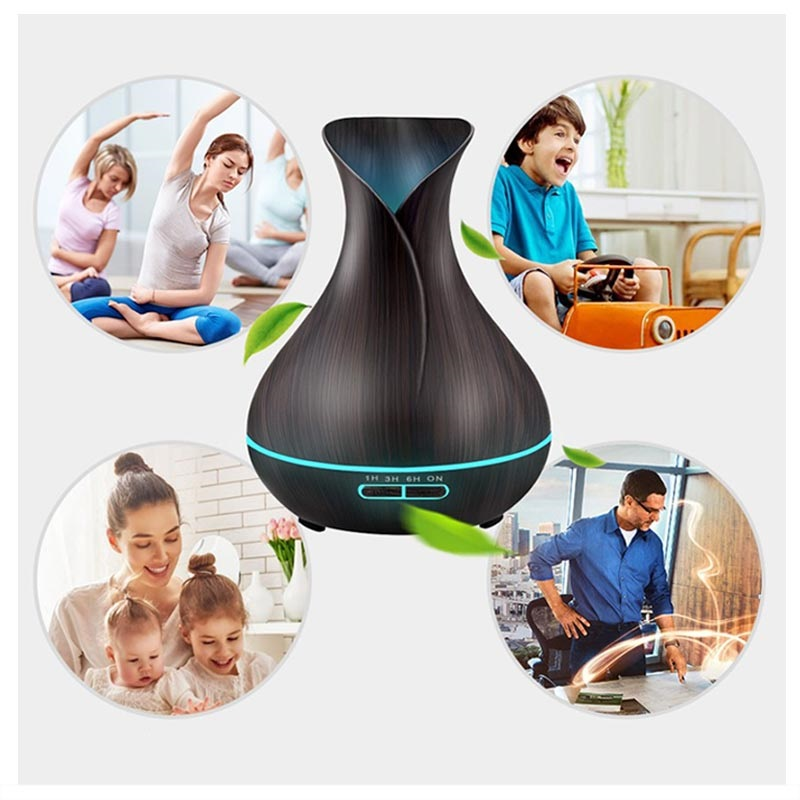 Wood Texture Air Humidifier with Colorful LED Light - 550ml - Dark Brown