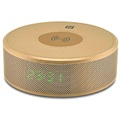 Yogee JY-29C 3-in-1 Qi Wireless Charger with Bluetooth Speaker & Alarm Clock - Gold
