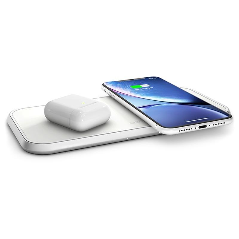 Zens Aluminium Fast Dual Qi Wireless Charging Pad 20W White