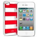 iPhone 4 / 4S Puro Stripe Case - Silver / Red