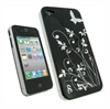 iPhone 4 iGadgitz Silver Butterflies Hard Cover - Black