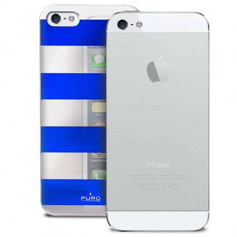 iphone 5 5s se puro stripe case silver blue. Black Bedroom Furniture Sets. Home Design Ideas