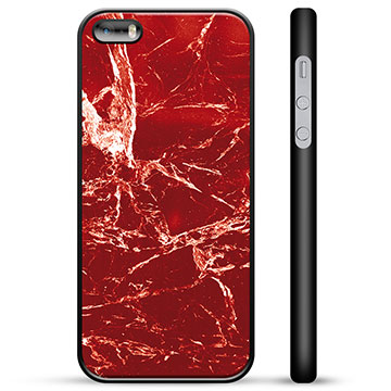 iPhone 5/5S/SE Protective Cover - Red Marble