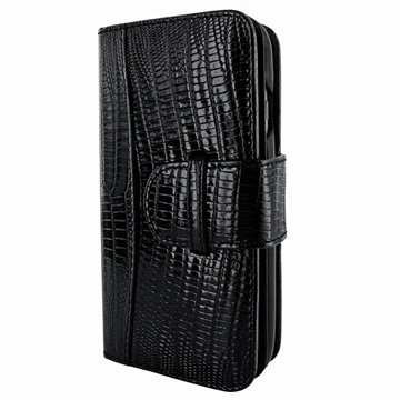iPhone 7 / iPhone 8 Piel Frama WalletMagnum Leather Cover - Lagarto - Black