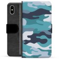 iPhone X / iPhone XS Premium Wallet Case - Blue Camouflage